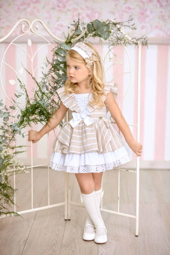 PRE ORDER SS21 Girls Miranda White and Camel Dress 298