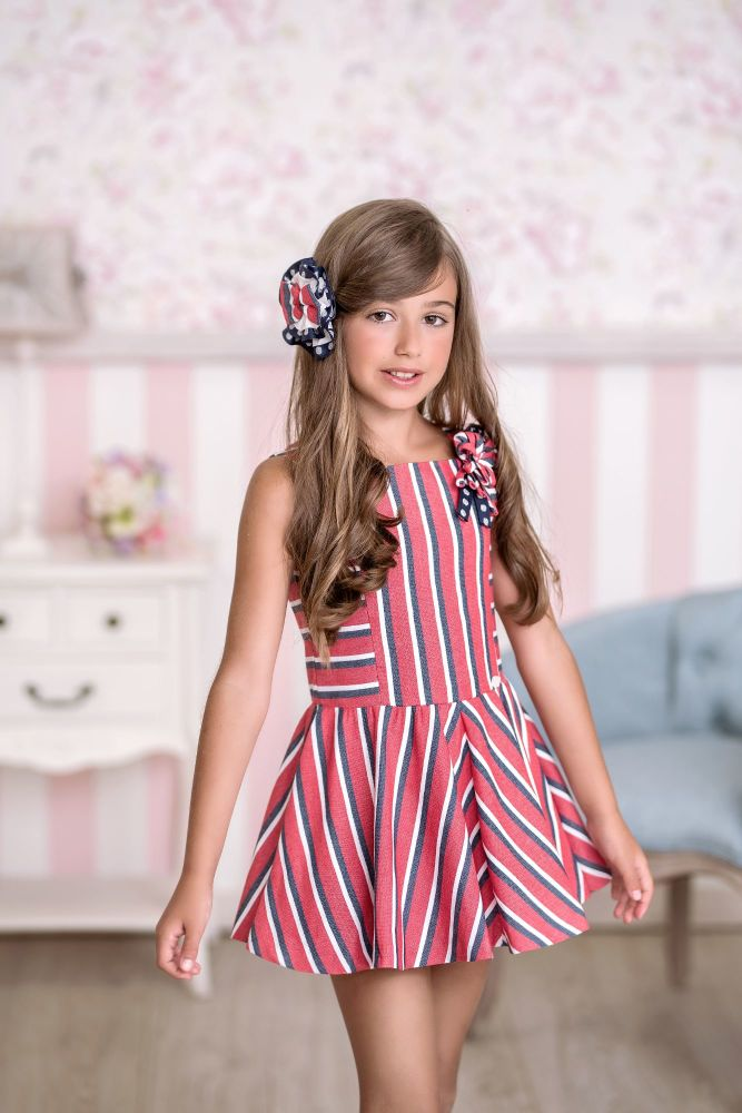 PRE ORDER SS21 Girls Miranda Red, White and Navy Dress 383 *Available upto