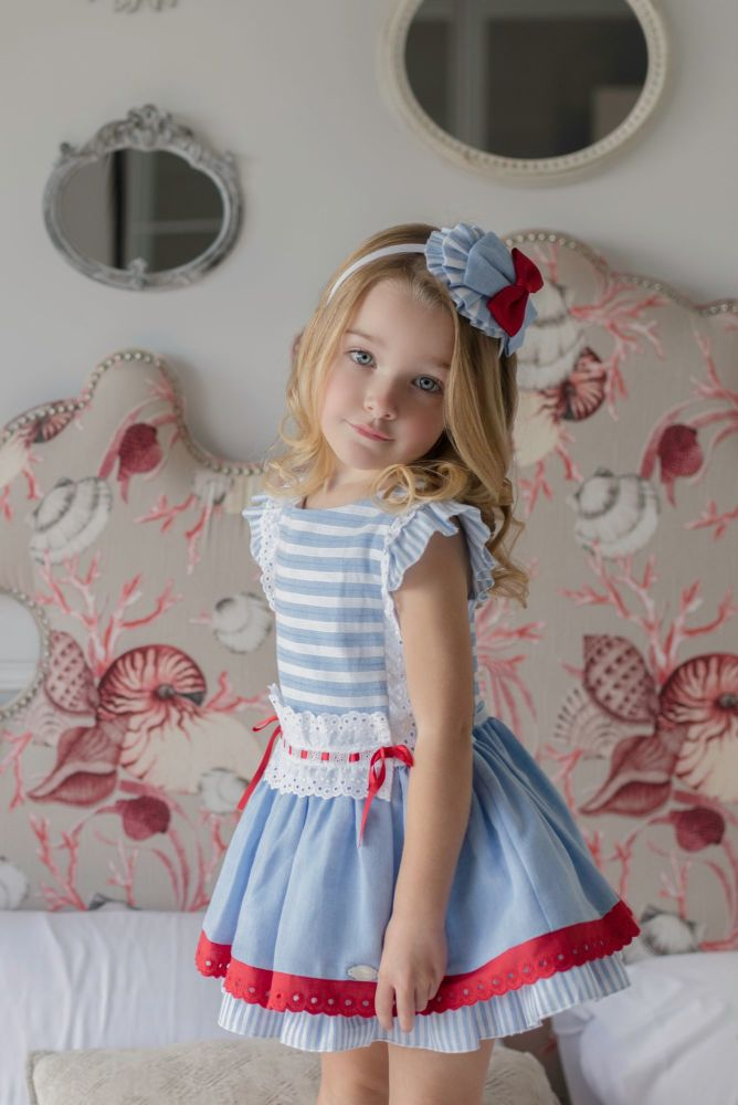 PRE ORDER SS21 Girls Miranda Red, White and Blue Dress 288