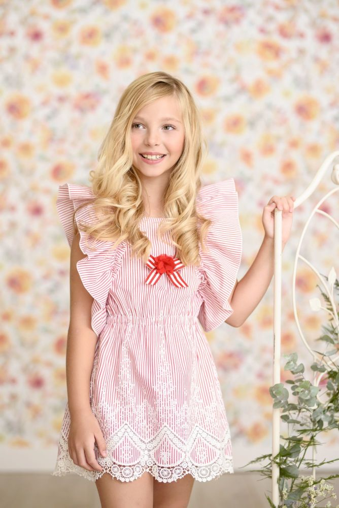 PRE ORDER SS21 Girls Miranda Red and White Dress 352 *Available upto 16 yea