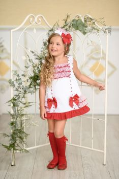 Girls Miranda Red and White Dress 295