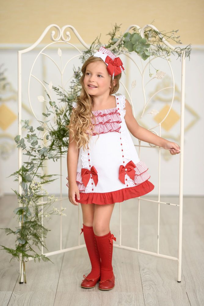 PRE ORDER SS21 Girls Miranda Red and White Dress 295