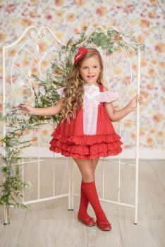 Girls Miranda Red and White Dress 253