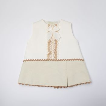 Girls Eva Camel and Cream Dress and Pants 1051