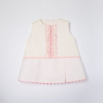 Girls Eva Pink and Cream Dress and Pants 1051