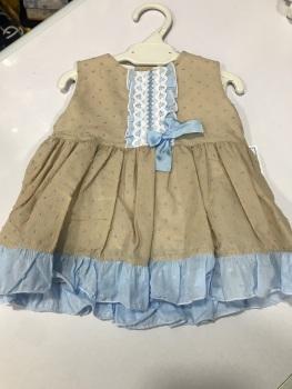 Girls Eva Camel and Blue Dress 1007