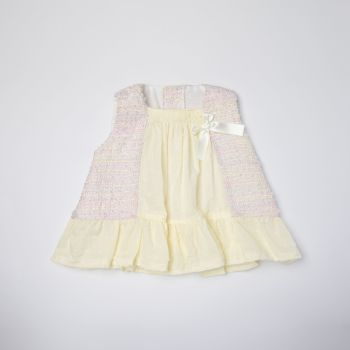 Girls Eva Pink and White Dress and Pants 1003