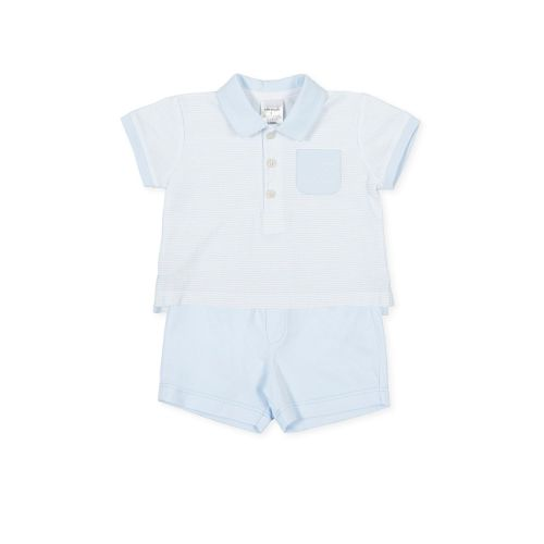 PRE ORDER SS21 Boys Tutto Piccolo Blue and White T Shirt and Shorts Set 158
