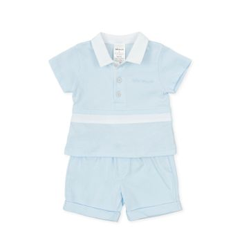 Boys Tutto Piccolo Blue and White T Shirt and Shorts Set 1583