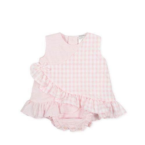 PRE ORDER SS21 Girls Tutto Piccolo Pink and White Romper 1783