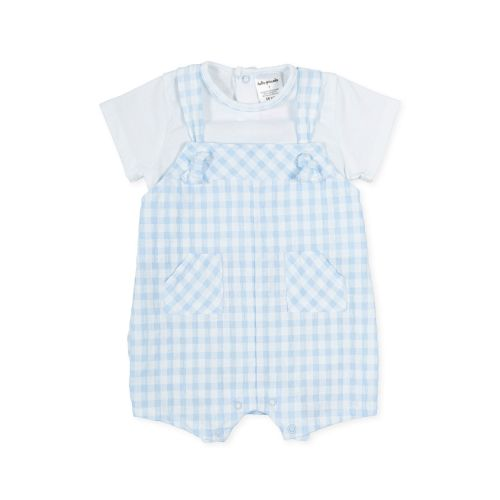 PRE ORDER SS21 Boys Tutto Piccolo Blue and White Romper 1280