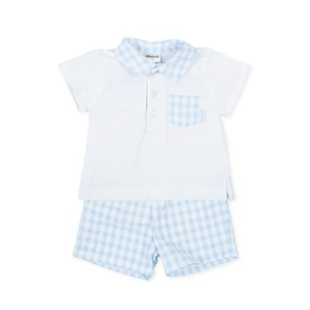 Boys Tutto Piccolo Blue and White T Shirt and Shorts Set 1682