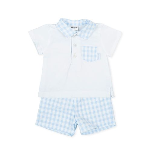 PRE ORDER SS21 Boys Tutto Piccolo Blue and White T Shirt and Shorts Set 168