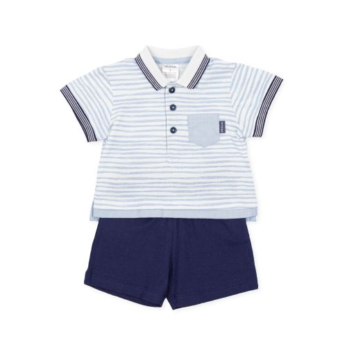 PRE ORDER SS21 Boys Tutto Piccolo Blue and White T Shirt and Shorts Set 169