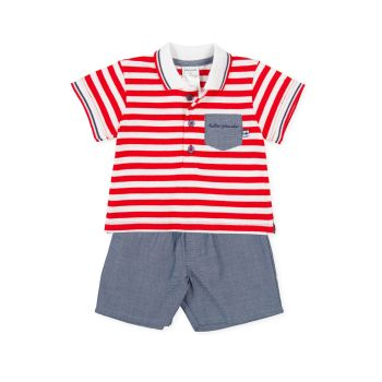 Boys Tutto Piccolo Red, White and Blue T Shirt and Shorts Set 1590