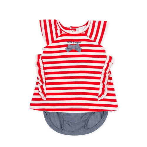 PRE ORDER SS21 Girls Tutto Piccolo Red, White and Blue Dress and Pants 1790