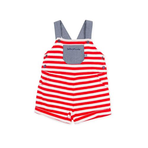 PRE ORDER SS21 Boys Tutto Piccolo Red, White and Blue Dungarees 1290