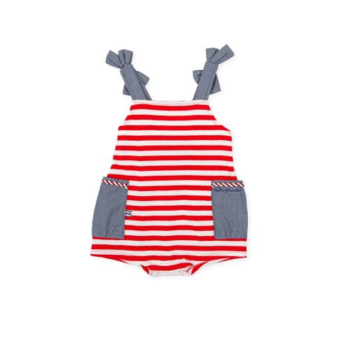 PRE ORDER SS21 Girls Tutto Piccolo Red, White and Blue Playsuit 1390