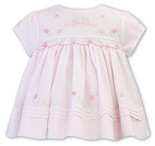 Girls Sarah Louise Dress 012235 Pink and White