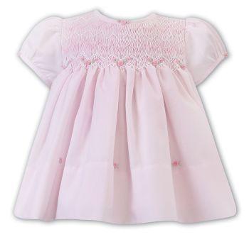Girls Sarah Louise Dress 012220 Pink and White