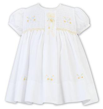 Girls Sarah Louise Heritage Collection Dress C7001 White and Lemon