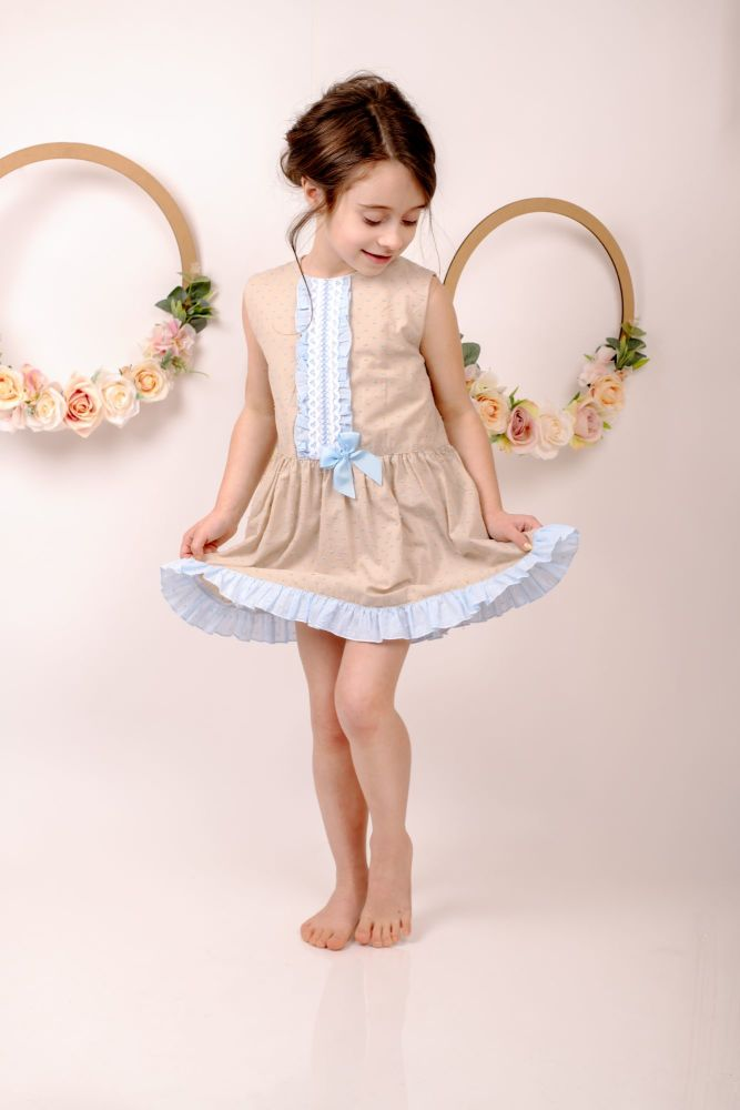 Girls Eva Camel and Blue Dress 1407