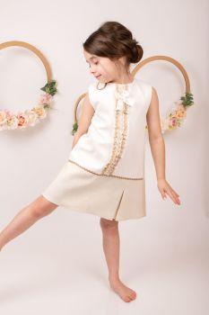 Girls Eva Camel and Cream Dress 1451