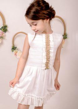 Girls Eva Cream Dress 1434