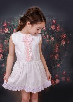 Girls Eva White and Pink Dress 1411