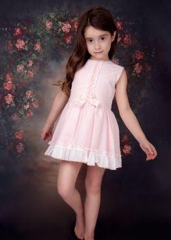 Girls Eva Pink and White Dress 1419