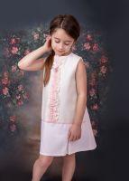 Girls Eva Pink and Cream Dress 1451