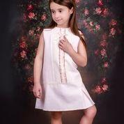 Girls Eva Pink and Cream Dress 1424