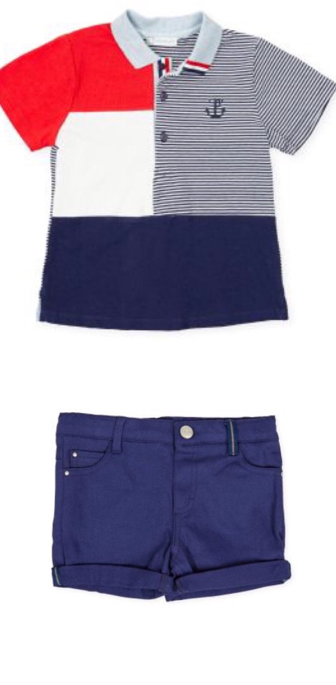 PRE ORDER SS21 Boys Tutto Piccolo Red, White and Blue Polo Shirt and Shorts