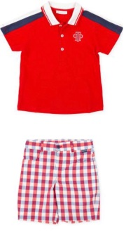 Boys Tutto Piccolo Red, White and Navy Polo Shirt and Shorts Set 1826/1326