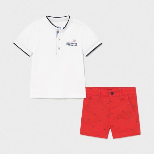 Boys Mayoral Polo Shirt and Shorts Set 1253 Red