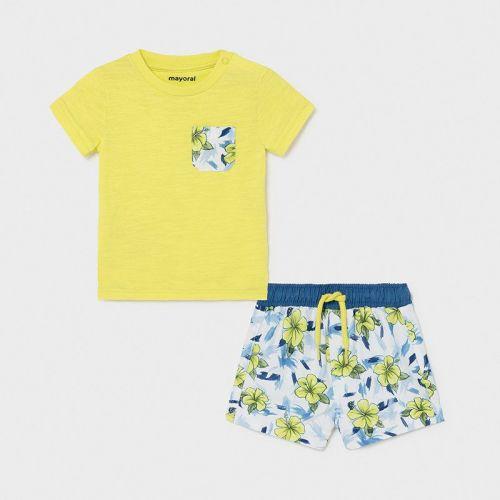 Boys Mayoral T Shirt and Shorts Set 1667 Lime