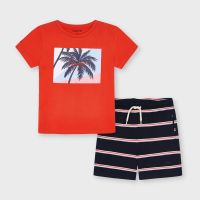 Boys Mayoral T Shirt and Shorts Set 3642 Cyber Red