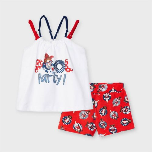 Girls Mayoral Top and Shorts Set 3220 Poppy