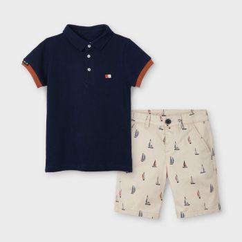 Boys Mayoral Polo Shirt and Shorts Set 3245 Latte