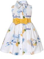 Girls Balloon Chic White and Blue Dress