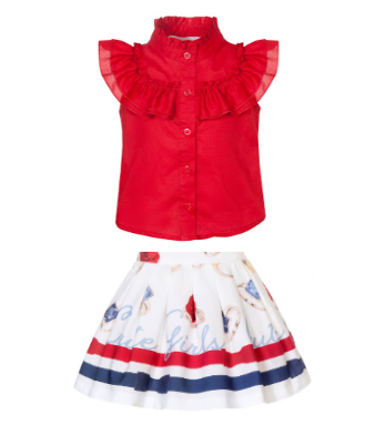 Girls Balloon Chic Red, White and Blue Top and Skirt Set