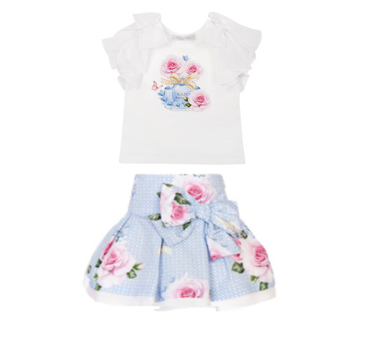 PRE ORDER SS21 Girls Balloon Blue Floral Top and Skirt Set