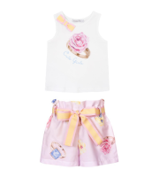 Girls Balloon Chic Pink Top and Short Set