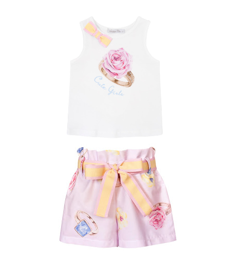 PRE ORDER SS21 Girls Balloon Pink Top and Short Set