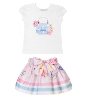 Girls Balloon Chic Pink Top and Skirt Set