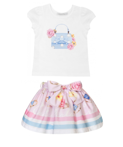 PRE ORDER SS21 Girls Balloon Pink Top and Skirt Set