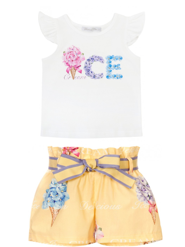 PRE ORDER SS21 Girls Balloon Chic Yellow and White Top and Shorts Set