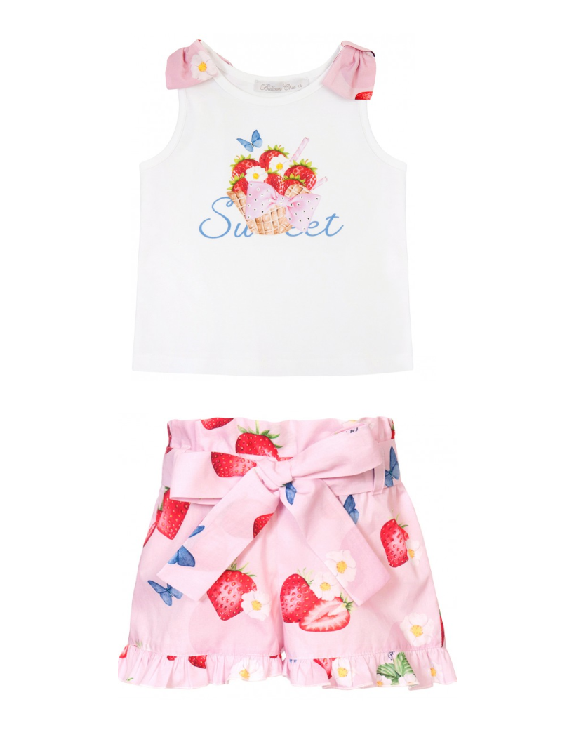 PRE ORDER SS21 Girls Balloon Chic Strawberry Top and Shorts Set