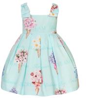 Girls Balloon Chic Aqua Dress