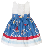 Girls Balloon Chic Blue and White Dress